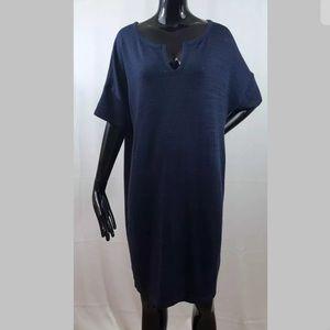 Old Navy Blue Heathered Dolman Sleeve Dress Large